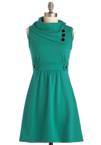 Coach Tour Dress in Spearmint - Green, Solid, Buttons, Pockets, Work, A-line, Sleeveless, Casual, Mint, Best Seller, Cowl, Tis the Season Sale, Variation, Fall, Spring, Gals, Maternity, Mid-length