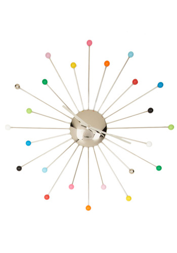 Party Time! Excellent! Clock - Multi, Red, Orange, Yellow, Green, Blue, Purple, Pink, Silver, Vintage Inspired