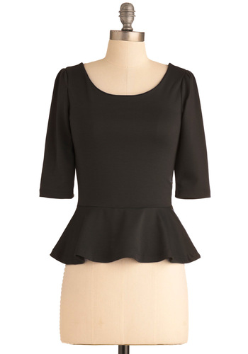 I Can Seed Clearly Top in Blackberry - Black, Solid, Peplum, Exposed zipper, Work, 3/4 Sleeve, Short, Cocktail