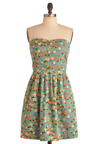 Coloring Book Ending Dress by Tulle Clothing - Multi, Orange, Yellow, Green, White, Floral, Buttons, Pockets, Strapless, Mid-length