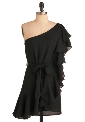 Black Ruffle Oil Dress - Short, Black, Solid, Ruffles, Party, Sheath / Shift, One Shoulder, Belted