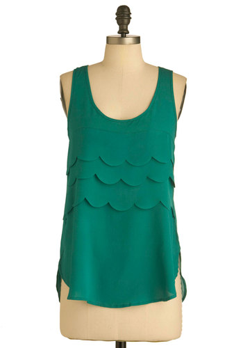 During the Intermission Top - Green, Solid, Buttons, Scallops, Tank top (2 thick straps), Casual, Summer, Mid-length