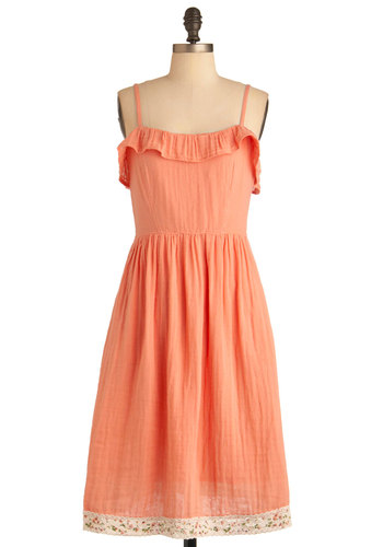 Apricot Your Eye Dress by Tulle Clothing - Long, Orange, Solid, Ruffles, Trim, Party, Spaghetti Straps