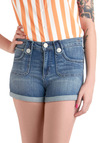 Think Gelato of You Shorts by Dittos - Blue, Solid, Pockets, Casual, Denim, Buttons, Tis the Season Sale