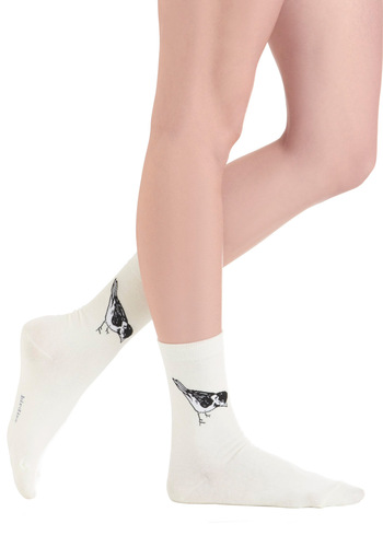 Peck and Choose Socks - White, Black, Print with Animals, Casual
