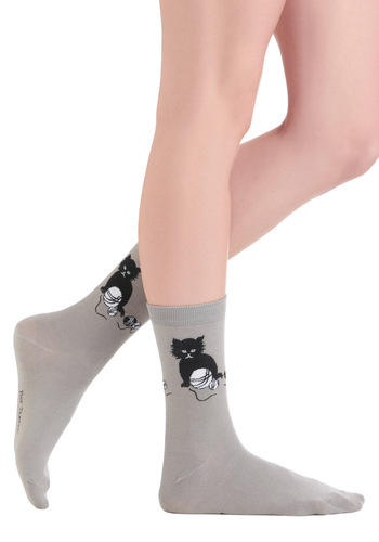 Kitten Around Socks - Grey, Black, White, Print with Animals, Casual, Kawaii, Knitted