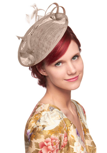 Taupe to Bottom Hat by Ophelie Hats - Cream, Solid, Bows, Feathers, Wedding, Party, Vintage Inspired, 40s
