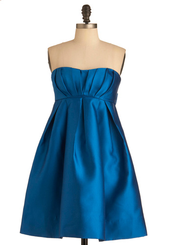 Jill Jill Stuart Set the Room A-bow Dress - Blue, Solid, Pleats, Pockets, Wedding, Empire, Strapless, Mid-length
