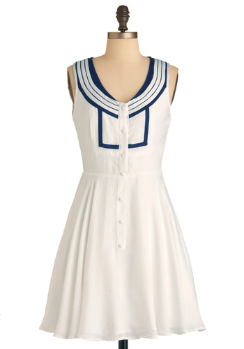 Cast A-line Dress - Mid-length, White, Blue, Party, Nautical, A-line, Tank top (2 thick straps), Spring, Button Down, Fit & Flare