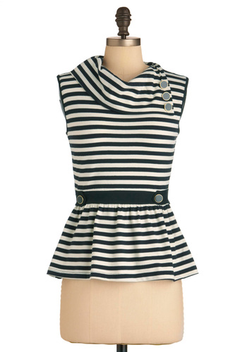 Coach Tour Top in Stripes - Mid-length, White, Stripes, Buttons, Sleeveless, Peplum, Black, Casual, Steampunk