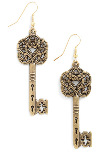 Everything Will Be O-key Earrings by Hannah Makes Things - Gold, Solid, Casual, French / Victorian, Steampunk