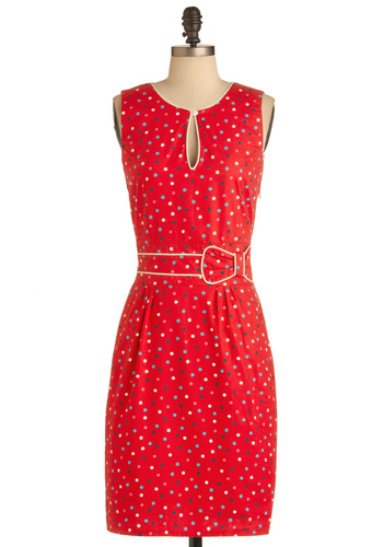 Forever and Effervescent Dress by Trollied Dolly - Long, Red, Blue, Pink, White, Polka Dots, Bows, Cutout, Vintage Inspired, Sheath / Shift, Sleeveless, Cotton, International Designer