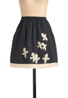 North Dole Skirt - Short, Blue, White, Pockets, A-line, Casual
