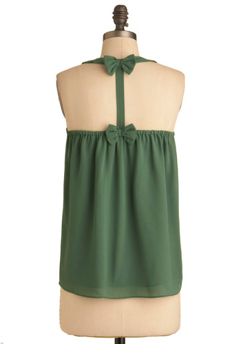 You Bow What's Up Top - Green, Solid, Bows, Tank top (2 thick straps), Summer, Mid-length, Scoop