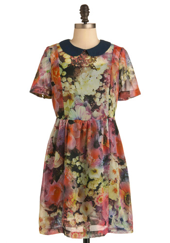 Pretty Pan-sy Dress - Short, Multi, Floral, Peter Pan Collar, Short Sleeves, 90s, Sheer, Collared