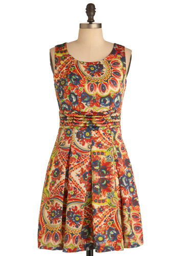 Jewelry Box Beautiful Dress - Mid-length, Multi, Multi, Paisley, Pleats, Party, Sleeveless, Fit & Flare, Cocktail, Summer