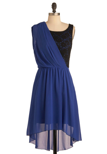 Opposite Attraction Dress - Mid-length, Blue, Black, Lace, Party, One Shoulder, High-Low Hem