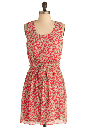 Jenny Jump-Up Dress - Mid-length, Green, Tan / Cream, Floral, Party, Shift, Tank top (2 thick straps), Summer, Belted, Red