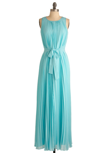 An Aquamarine Affair Dress - Blue, Solid, Pleats, Formal, Wedding, Maxi, Sleeveless, Long, Vintage Inspired, Spring, Pastel, Belted