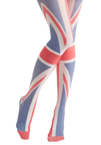 Yea or Nation Tights in United Kingdom by House of Holland - Multi, Red, Blue, White, Mod, Novelty Print, Statement
