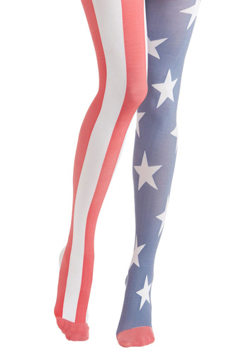 Yea or Nation Tights in United States by House of Holland - Red, Blue, White, Print, Summer