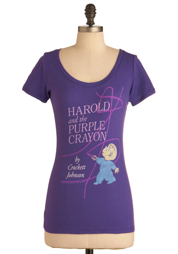 Novel Tee in Harold by Out of Print - Purple, Blue, Pink, Casual, Short Sleeves, Cotton, Mid-length