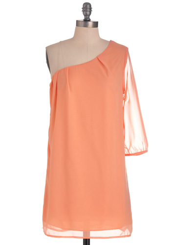 Going Abroad Dress in Peach - Short, Orange, Solid, Pleats, Party, One Shoulder, Sheer, Sack