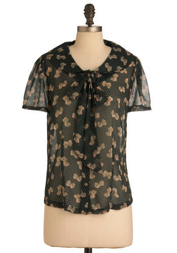 Bow Your Own Way Top - Mid-length, Black, Tan / Cream, Short Sleeves, Tie Blouse, Novelty Print, Work
