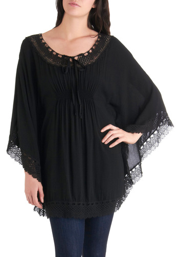 Lace Get Lunch Tunic - Long, Black, Solid, Lace, Casual, Trim, Boho, Long Sleeve