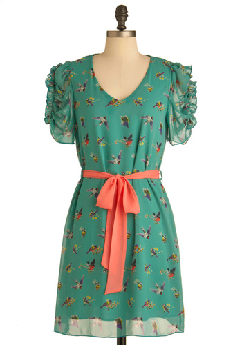 Ruche of Wings Dress - Mid-length, Green, Multi, Multi, Print with Animals, Cutout, Party, Sheath / Shift, Short Sleeves, Belted, Ruching, Sheer, V Neck