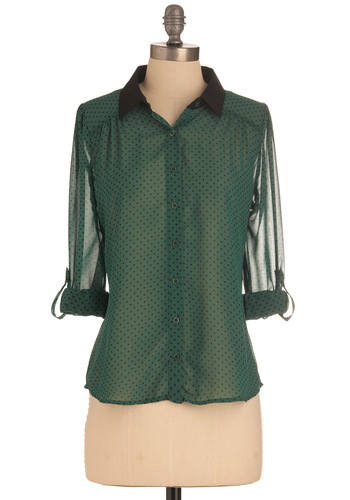 Law-Inspiring Top - Mid-length, Green, Black, Polka Dots, Buttons, Long Sleeve, Work, Sheer, Button Down, Collared