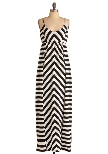 Riddle Me Dress - Long, Black, White, Stripes, Casual, Maxi, Spaghetti Straps, Summer
