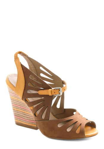 Sedimentary School Heel - Yellow, Cutout, Spring, Mid, Chunky heel, Brown, Multi, Green, Pink, Casual, Leather, High, Tis the Season Sale