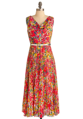 Floral Symphony Dress - Multi, Yellow, Green, Blue, Pink, Tan / Cream, Floral, Pleats, Party, Maxi, Sleeveless, Long, Belted, Spring, Daytime Party, Fit & Flare, V Neck