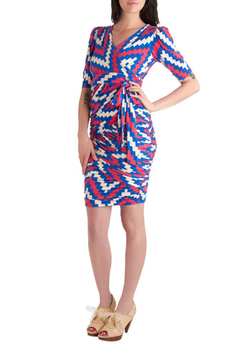 Plenty by Tracy Reese Bolt-imore Sunshine Dress by Plenty by Tracy Reese - Long, Blue, Pink, White, Print, Party, Sheath / Shift, Short Sleeves, Ruching