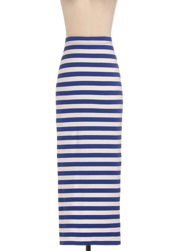 Rockin' and A-reelin' Skirt - Long, Blue, White, Stripes, Casual, Nautical, Maxi, Summer