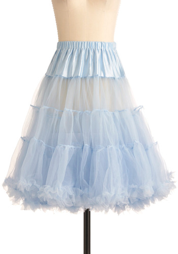Va Va Voluminous Petticoat in Blue - Blue, Solid, Ruffles, Rockabilly, Vintage Inspired, 50s, Mid-length, Wedding, Pastel, International Designer