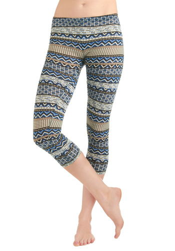 Rock That Pattern Leggings - Multi, Blue, Tan / Cream, Black, White, Print, Casual, Folk Art