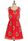 Pop, Spot, and Rock It Dress - Mid-length, Red, Multi, Yellow, Blue, White, Polka Dots, Floral, Casual, A-line, Tank top (2 thick straps), Summer