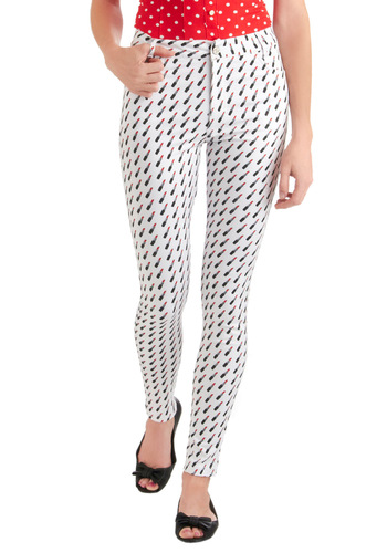 Think It Will Lipstick? Pants by Motel - White, Red, Black, Pockets, Casual, Novelty Print, Long