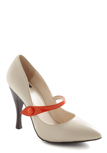 Ginger Strap Heels - Red, Black, Buttons, High, Mary Jane, Colorblocking, Tan, Work, Leather
