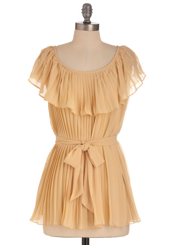 Crepe Cake Top - Solid, Pleats, Short Sleeves, Cream, Mid-length