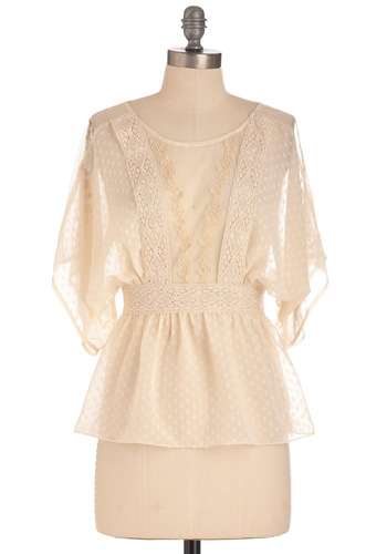 Countercultured Top - Mid-length, Embroidery, Lace, Boho, Short Sleeves, Cream, Work, Sheer