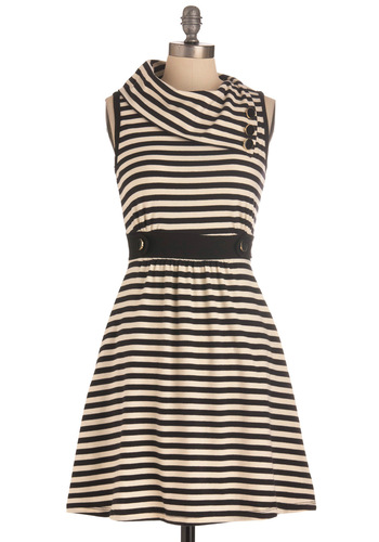 Coach Tour Dress in Stripes - Black, White, Stripes, Buttons, Pockets, Casual, A-line, Sleeveless, Mid-length