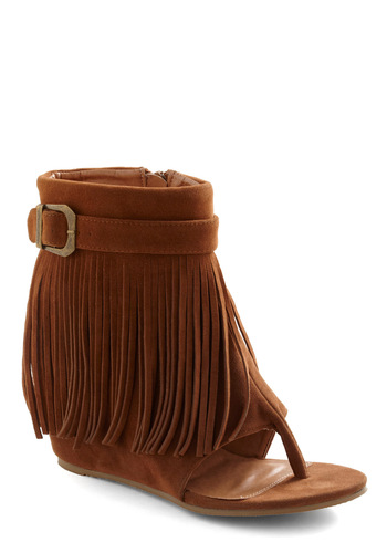 Hike It a Lot Sandal - Brown, Solid, Fringed, Boho, High, Espadrille, Buckles