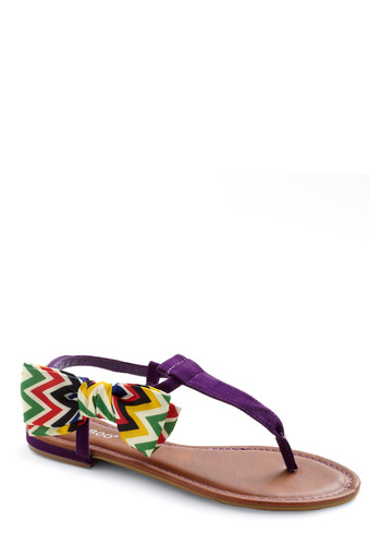 Love at First Bright Sandals - Purple, Multi, Solid, Bows, Casual, Summer, Flat