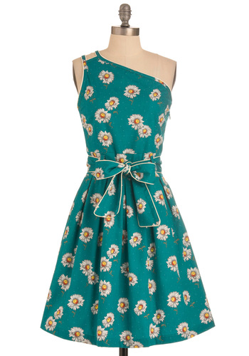 Daisy in Love Dress by Trollied Dolly - Mid-length, Green, Yellow, White, Floral, Cutout, Party, Vintage Inspired, 60s, A-line, One Shoulder, Summer, Belted, International Designer