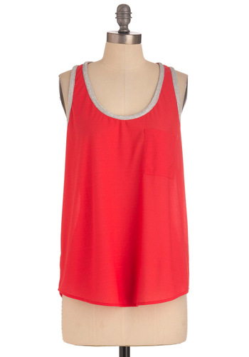 Petal Down Top - Red, Casual, Silver, Solid, Pockets, Tank top (2 thick straps), Summer, Glitter, Sheer, Coral, Mid-length