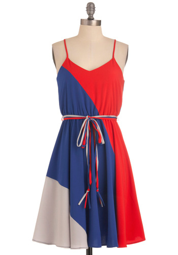 Worth a Tricolor Dress - Mid-length, Red, Blue, Grey, Casual, Shift, Spaghetti Straps, Summer, Belted, Variation