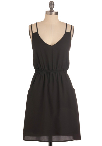 Strappy and You Know It Dress - Mid-length, Black, Solid, Pockets, Casual, Sheath / Shift, Spaghetti Straps, Summer
